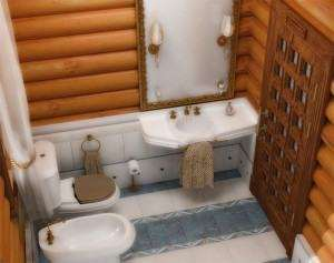 Обробка ванної кімнати в дерев'яному будинку